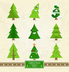 christmas tree set of icons on vector image