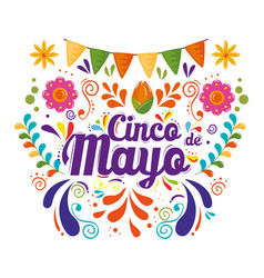 Cinco de mayo poster with garlands hanging vector
