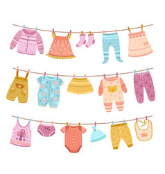 Clothes on ropes clothesline kids cloth dry vector
