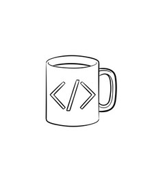 coffee cup with code sign hand drawn outline vector image