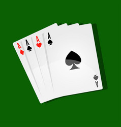 combination of four aces on green play field vector image