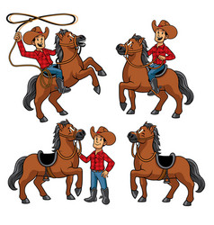 cowboy and horse set vector image