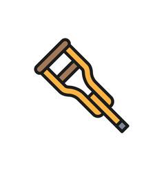 crutch stick flat color line icon vector image