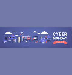 cyber monday big sale banner design with modern vector image