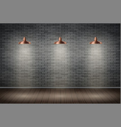 Dark brick wall room with vintage lamps vector