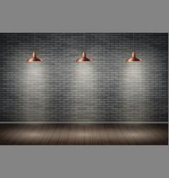 Dark brick wall room with vintage lamps vector