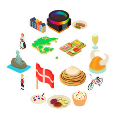 denmark travel icons set isometric style vector image