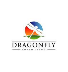 dragonfly with colorful sky horizon logo symbol vector image