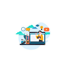 E-learning online education at home vector