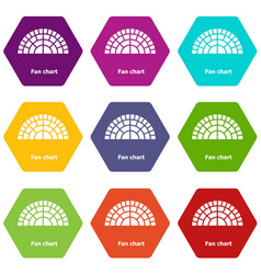Fan chart icons set 9 vector