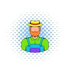 Farmer icon in comics style vector