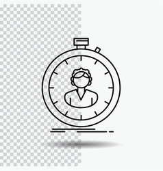 Fast speed stopwatch timer girl line icon on vector