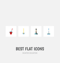 Flat icon mop set of bucket broom broomstick and vector
