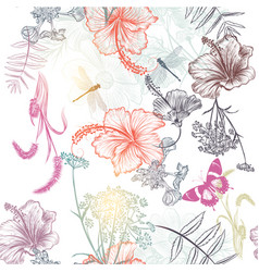 Floral seamless background with engraved flowers vector