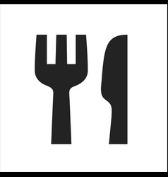 fork and knife black simple icon restaurant vector image