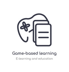 Game-based learning outline icon isolated line vector