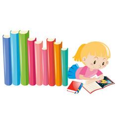 Girl reading storybook alone vector
