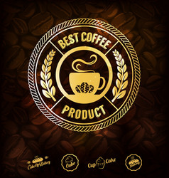 Golden coffee labels and coffee beans background vector