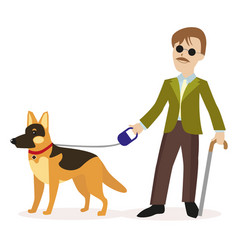 Guide-dog blind man with guide dog disability vector