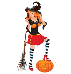Halloween red haired witch vector