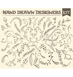 Hand Drawn vintage floral elements All elements vector image