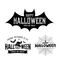 happy halloween black and white design collections vector image