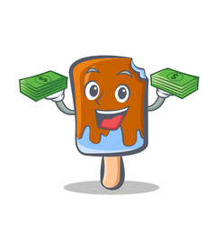 Ice cream character cartoon with money vector