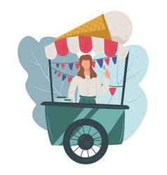 ice cream stall street seller gelato vector image
