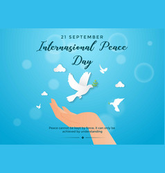 International peace day with hold hand vector