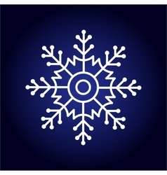 Isolated abstract white color snowflake on blue vector image