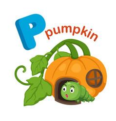 Isolated alphabet letter p pumpkin vector
