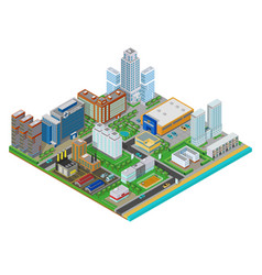 Isometric urban city real estate background with vector image