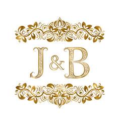 J and b vintage initials logo symbol letters vector