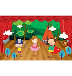 Kids on a stage vector