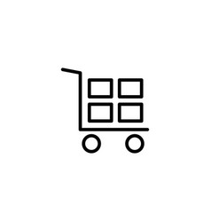 line hand truck icon on white background vector image