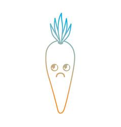 line kawaii cute sad carrot vegetable vector image