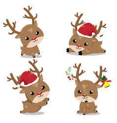 little deer in christmas day vector image