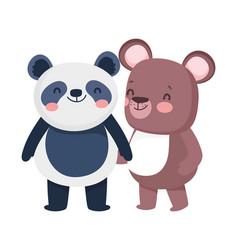 little panda and teddy bear cartoon character vector image