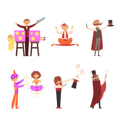 magician in the circus show magic tricks magic vector image
