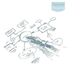 Man explaining plan strategy business brainstorm vector