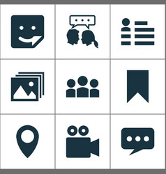 media icons set with bookmark dialog social page vector image