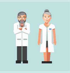 Medical workers or hospital doctors man and woman vector