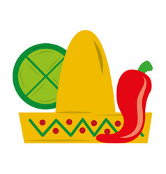 mexican hat chili pepper and lemon vector image