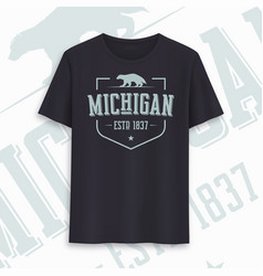 michigan state graphic t-shirt design typography vector image