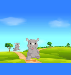 natural forest with the big rhino walking vector image
