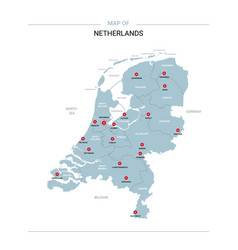 Netherlands map with red pin vector