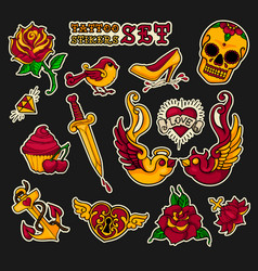 old school stikers tattoo set vector image