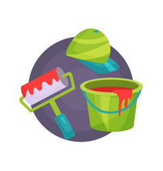 painter icon professional repair tools cartoon vector image