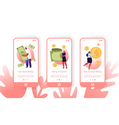 People collecting and saving money mobile app page vector