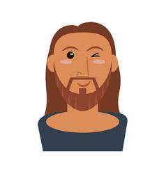 Portrait jesus christ wink image vector